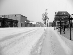 Main Street B&W (inspired_view) Tags: street winter blackandwhite snow ontario canada streetlamps footprints lamps townscape streetscape smalltown fotocompetition fotocompetitionbronze