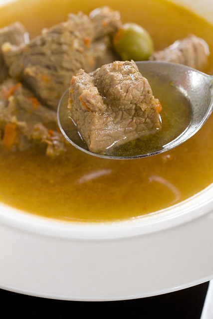 Soup spoon with beef cube 2