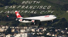 Swiss International Air Lines (HB-JMG) (A Sutanto) Tags: sf sanfrancisco california ca mountain plane star airport sfo 10 swiss air hill jet landing airbus approach airlines runway airliner a340 alliance sanbruno lx southsanfrancisco jetliner ksfo a343 hbjmg