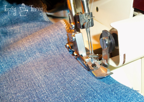 bootcut to skinny jean makeover upcycled serger