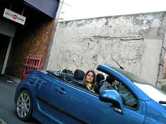 Blue car (Pegasus & Co) Tags: world life street city urban woman inspiration paris cute sexy girl beautiful beauty fashion lady composition nice legs feminine candid femme transport beaut belle instant jolie bella monde rue extrieur rues emotive beau jambes vie visage fminin urbain streetshot ambiance femininity motion fminit fugace