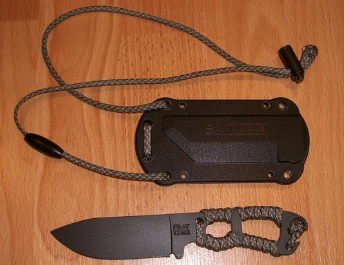 KA-BAR Becker Necker Neck Knife with 3-14 1095 Cro-Van Carbon Steel Blade
