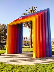 Chromatic Gate (Thad Zajdowicz) Tags: art publicart color colour chromaticgate herbertbayer street city urban santabarbara california usa cellphont availablelight lightroom park outdoor outside motorola zajdowicz droid turbo android mobile smartphone cameraphonesky landscape