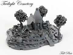 Twilight Cemetery (1 of 2) (Emil Lidé) Tags: lego moc twilight cemetery church tree grey swebrick contest