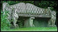 Banc de pierre (o.penet) Tags: stone benches publicgardens bancs pierre honfleur normandy fleurs flowers blue red pink yellow mauve
