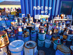 Paint Drop Offs (Steve Taylor (Photography)) Tags: blue white container metal plastic paint newzealand nz southisland canterbury christchurch corrugated sunny sunshine can tin emulsion