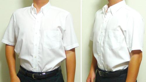 半袖ワイシャツを着用