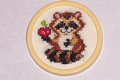Raccoon Cross Stitch (dolphynlvr4) Tags: apple crossstitch sewing needlepoint stitching raccoon raccooncrossstitch