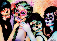 Day of the Dead (Caressa_sparkle) Tags: flowers girls color water colors girl ink watercolor painting de dead skulls los rainbow colorful paint day dia sugar muertos