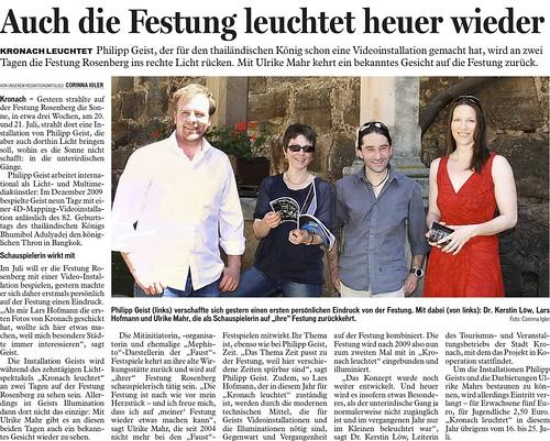 """Presse """"Kronach Leuchtet"""" 2010 - Auch die die Festung leuchtet heuer wieder -"""