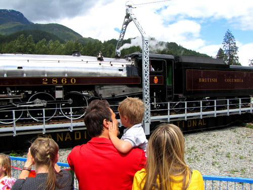 Family Day Out at the West Coast Railway Heritage Park. Royal Hudson 2860 Steams Into CN Roundhouse in Squamish BC