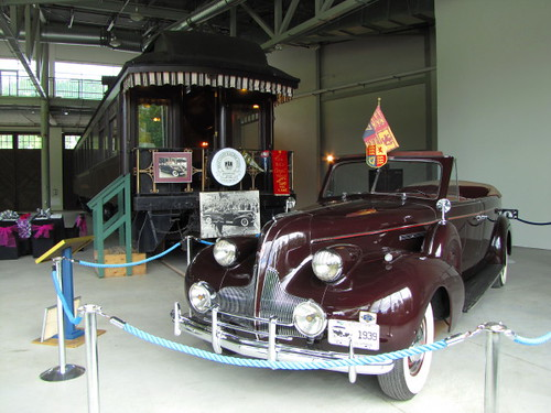 1939 Buick McLaughlin, S/N 1 and CPR Business Rail Car at the West Coast Railway Heritage Park, Royal Hudson Roars Into CN Roundhouse in Squamish on June 30, 2010