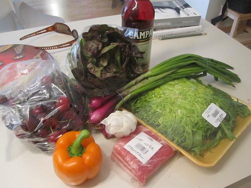 Groceries - $18, Campari - $24