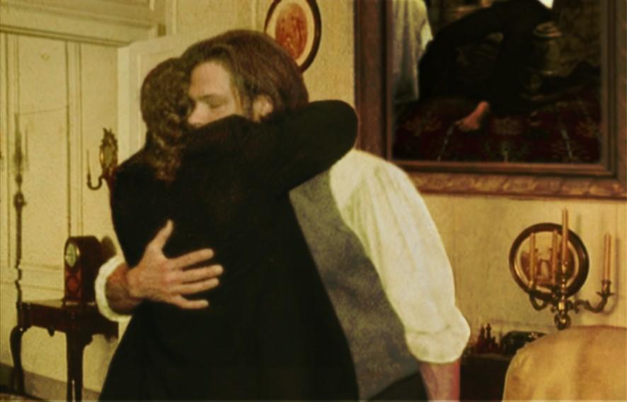 tris hugs john drawing room