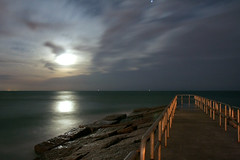 On Moonlight Bay (TexanPhotos) Tags: moon reflection beach gulfofmexico night coast texas gulf corpuschristi tx padreisland