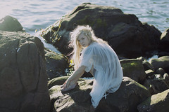 (kara o'keefe) Tags: ocean light sea sunlight seaweed water girl rock newfoundland hair harbor pretty dress wind bokeh stjohns shawl narrows thenarrows catherineroberge