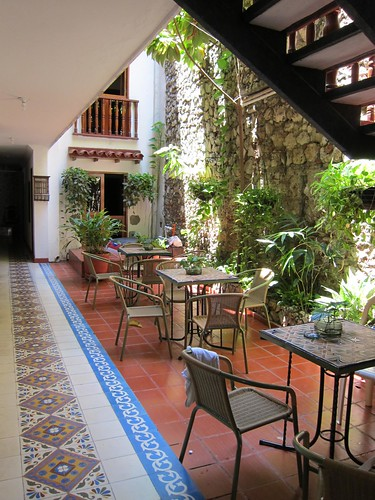 All of the hostels in Getsemani feature interior courtyards like this one at Hotel Villa Colonial.