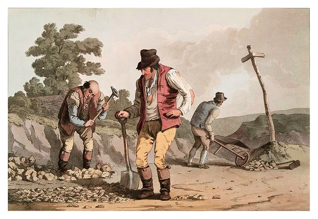 017-Empedrando el camino-The costume of Yorkshire...1814- George Walker