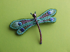 dragonfly brooch (Erratic Needle) Tags: original green needlework dragonfly embroidery teal crafts brooch jewelry jewellry bordado handembroidered