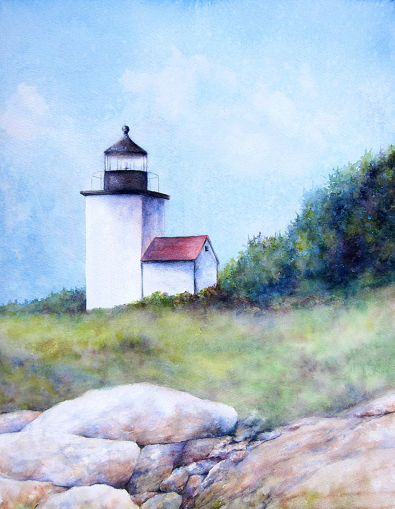 Mark Island Lighthouse... 18x14 Original Watercolor painting