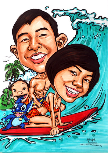 Couple caricatures surfing with Lilo and Stitch