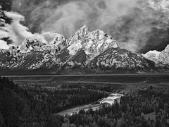 A Grand Teton Sunrise (Jerry T Patterson) Tags: blackandwhite bw white mountain snow black nature clouds forest river outdoors blackwhite bravo jackson patterson nights wyoming tetons 1001nights jacksonhole tqm 1001 hypothetical blueribbonwinner coth bej itsawonderfulworld impressedbeauty ultimateshot flickrdiamond theunforgettablepictures spiritofphotography rubyphotographer dragondaggerphoto flickrclassique capturethefinest daarklands magicunicornverybest selectbestfavorites heavensshots dcpt pinnaclephotography 2010dcpt healinglightofthespirit