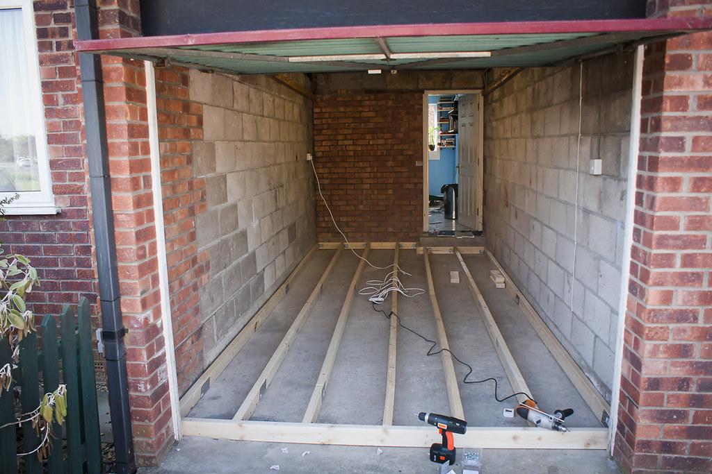 Garage Conversion - building floor frame