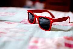 (Isai Alvarado) Tags: light red sky sun cinema blur reflection film sunglasses fashion movie 50mm glasses bed nikon focus dof bokeh cine shades cinematic rayban d80