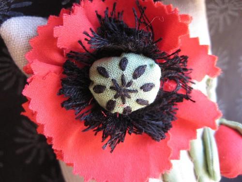 poppy pincushion detail