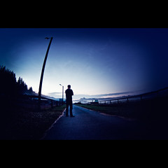 Sound of Silence (FreakyLeo) Tags: road mist man night sweden ale sverige laula zenitar16mmf28 älvängen canon5dmarkii