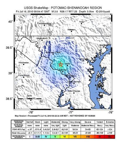 Instrumental Intensity map, DC earthquake 7/16/2010