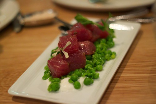 tuna tartare with crushed green pea salad