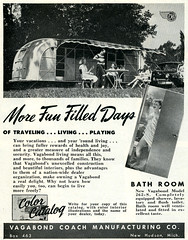 Vagabond Coach_tatteredandlost (T and L basement) Tags: travel ephemera rv 1949 traveltrailer recreationalvehicle vintagetrailermagazinead holidaymagazinead1949 vagabondcoachtrailer