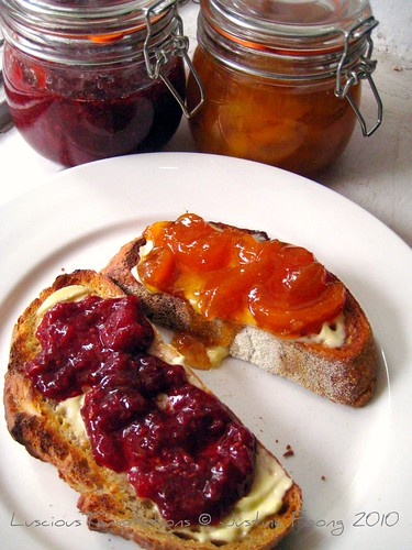 Strawberry, Raspberry & Rose and Peach & Vanilla Jams on Toasted Sourdough - Sunday Breakfast