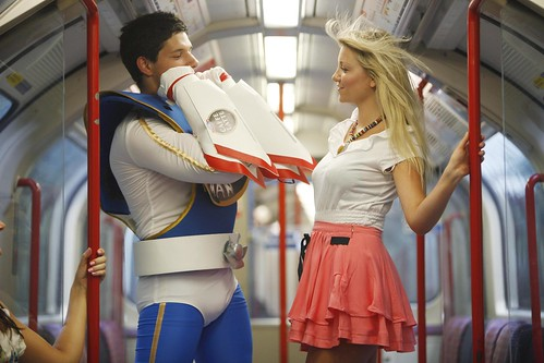 Emmi FanMan cools down a woman on the tube - Photo David Parry/PA