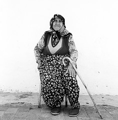 Old Woman With Cane - Izmir, Turker