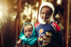 Sisters (Jeremy Snell) Tags: africa blue girls light portrait sisters forest scarf 50mm mt african 14 mount ethiopia addis ababa matoto