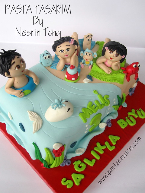 DORA AND DIEGO IN THE BEACH - MELIS BIRTHDAY CAKE