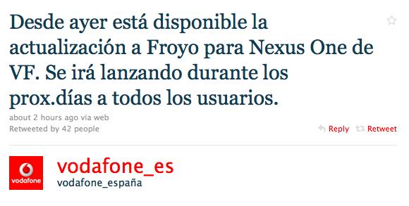 actualización confirmacion vodafone nexus one