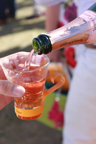 Teacup of Champagne at Veuve Cliquot Gold Cup