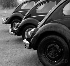 beetle row (Studiobaker) Tags: light black classic set vw vintage bug volkswagen point three missing pattern no tail rear beetle bumper fender chrome cap end trunk trio variety trim vanishing hubcap variations taillights converging traillight coverge studiobaker