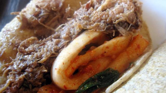 pork and kimchi tacos