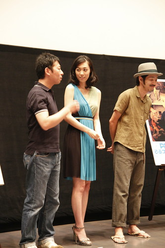 Director Takuji Suzuki speaking to Kazue Fukiishi. Gegege No Nyobo world premiere at the Pia Film Festival