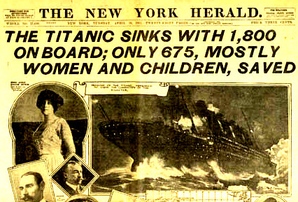 Headline of New York News Herald from Titanic Disaster