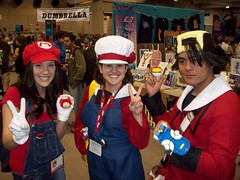 Mario with Lyra and Ethan (pwopa wok n woll) Tags: girl silver gold heart cosplay nintendo july mario ethan master soul lyra kris pokemon comiccon luigi trainer 2010 hibiki kotone supermariobros sandiegocomiccon soulsilver heartgold pokewalker