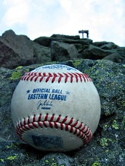 Top of the East: 78 of 100 (Roadduck99) Tags: sky mountain sign clouds ball official rocks mtwashington stitches lichen eastern league rawlings seams vogonpoetry 100possibilitiesproject