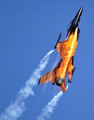 RNLAF F16 power climb II (Russell F Spencer) Tags: sky orange netherlands dutch ta