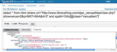 YQL parsing LibraryThing Local data