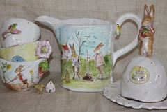 Rabbits I have known (Julie Whitmore Pottery) Tags: garden shoe strawberry vegetable rabbits pinkshoe
