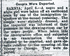 Couple Were Deported - S.O. 5 Apr. 1913 p8 (snap-happy1) Tags: county chicago ontario canada couple newspapers marriage il sarnia were racism deported lambton interracial observer rochon